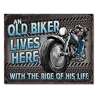 メタルサイン 「Old Biker - Ride」# 2236 オールドバイカー 縦31.7×横40.5cm [並行輸入品]