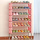 組み立て式 おしゃれ シューズラック 大容量 7段 衣類 靴 タオル 収納棚 軽量 省スペース 靴棚 (ピンク)