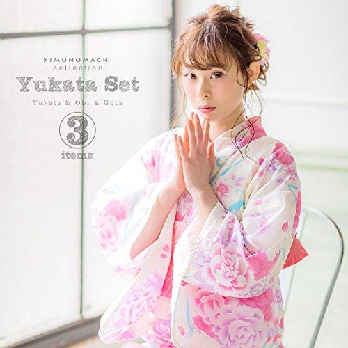 [ 京都きもの町 ] 女性浴衣3点セット 浴衣+帯+下駄 白色 リボンとお花 下駄フリーサイズ_GT-F_