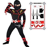SATKULL Ninja Costume Boy Halloween Kids Costume Boy Ninja Muscle Costume with Ninja Foam Accessories Best Children Gift