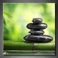最初壁アート–グリーンSpa Still Life with竹Fountain and Zen Stoneウォールアート絵画プリントキャンバスの植物ホーム用にモダン装飾(ストレッチby木製フレーム、ハングする準備) 24x24inch グリーン 8101640F