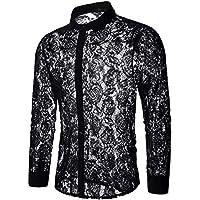 INVACHI Men's Sexy Fishnet Button Down Shirts See Through Lace Sheer Shirts