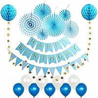 Whonline 豪華20点 誕生日 飾り付け セット ペーパーファン ペーパーポンポン ガーランド バルーン バースデー パーティー デコレーション 装飾 ブルー