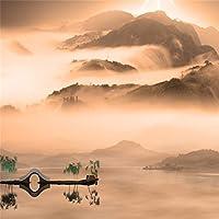 LFEEY 5x5フィート 中国自然風景 絵画 背景 美しい夕暮れの漁師 橋 グラフィック 山と川 写真背景 スタジオ小道具