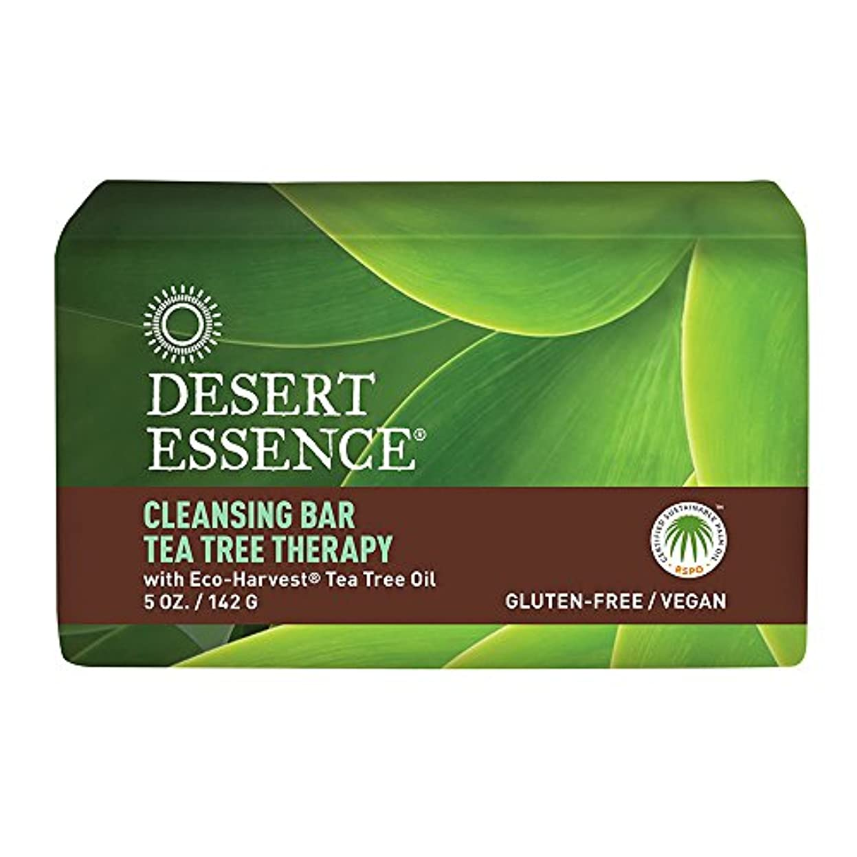 不純うめき軽量海外直送品Desert Essence Tea Tree Therapy Cleansing Bar Soap, 5 oz