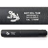 【 東京マルイM4シリーズに簡単ポン付! 】良品武品 【 14mm 逆ネジ 対応 】 Navy SEALs 刻印入り サイレンサー 軽量 アルミ製 φ32mm×199mm