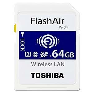 TOSHIBA FlashAir W-04 国内版 バルク プラケース入り 無線LAN搭載 SDXC メモリカード SD-UWAシリーズ (64GB)