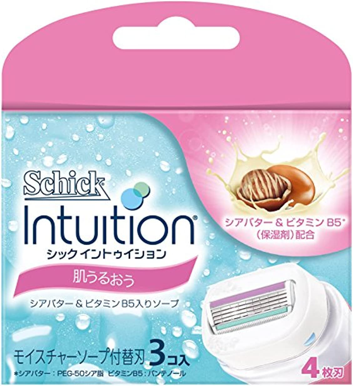 苦難擬人化フェザーシック Schick イントゥイション 替刃 女性用 カミソリ 肌うるおう(3コ入)