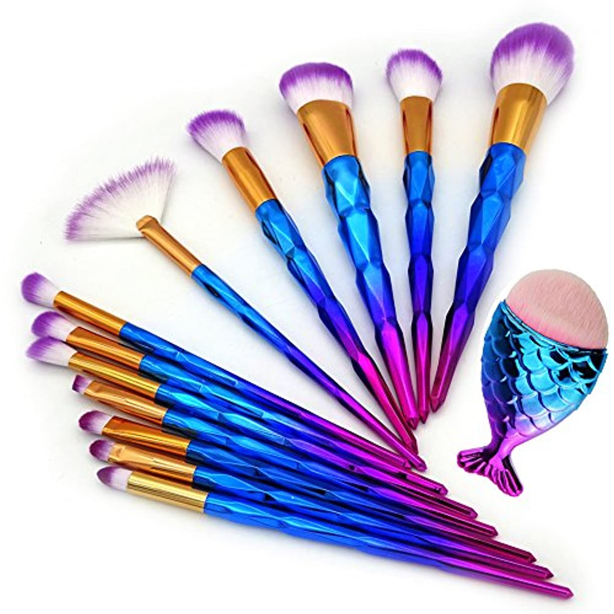 に関してエキサイティング仕事に行く13Pcs Unicorn Diamond Makeup Brush Set Mermaid Foundation Powder Cosmetics Rainbow Eyeshadow Face Kabuki Make...
