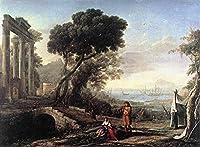 手描き-キャンバスの油絵 - Italian Coastal 風景画 風景画 Claude Lorrain 芸術 作品 洋画 ウォールアートデコレーション -サイズ10