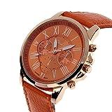ZooooM クロノグラフ ラウンド デザイン アナログ 腕 時計 フェイク レザー ベルト ファッション アクセサリー フォーマル カジュアル ビジネス メンズ レディース 男性 女性 男 女 兼 用 ( オレンジ ) ZM-CLWC-OR