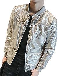 chenshiba-JP メンズメタリックロングスリーブスタンドカラー軽量アウターウェアジャケットコート
