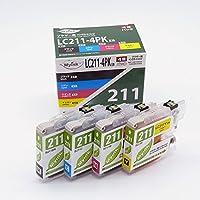 Myink インクカートリッジ <brother(ブラザー) LC211-4PK 対応 4色セット> [ブラック顔料使用] 互換インクカートリッジ 【国際規格ISO9001品質】
