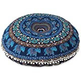 FashionShopmart Floor Pouf Cover Pillow Large Mandala Cover Meditation Cushion Seating Throw Hippie Round Colorful Decorative