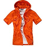 GuDeKe夏 メンズ パーカー 半袖 tシャツ トレーナー ジャケット無地 パーカー メンズ フード 付き スウェット シンプル 着回し(オレンジ4.2.2)