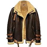プレミアムムートン羊毛革 メンズ B-3フライトジャケットムートン コート本革 最強防寒ライダース (ブラウン, XL)
