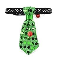 Miyinla ペット用 発光 ネクタイ 犬猫首輪 首飾り 鈴付き 可愛い ネクタイ 首輪用 猫 小型犬用 ネコ用 サイズ調節可能 GR
