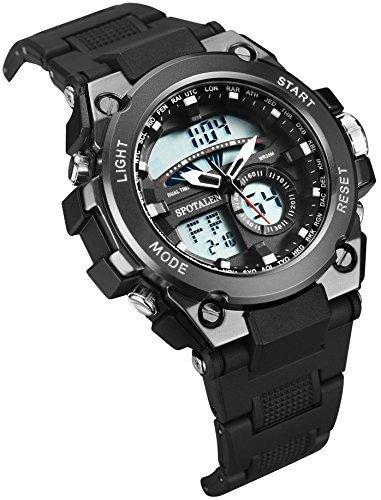 SPOTALEN スポテレン 軍事腕時計 アナデジ表示 メンズ ウォッチ ブラック