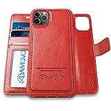 AMOVO iPhone 11 Pro ケース 手帳型 分離式 マグネット 取り外し自由 ワイヤレス充電に対応 カード収納 横開き スタンド機能 アイフォン 11 Pro 手帳カバー (iPhone 11 Pro 5.8インチ, 赤)