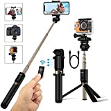 Selfie Stick Tripod with Remote for Gopro Dslr Action Camera iPhone X 8 7 7 plus 6s 6 5s Samsung Android 3.5-6 inch Smartphone - BlitzWolf 4 in 1 Extendable Monopod Mini Wireless Selfie Stick 360° Rotation