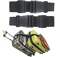 Pack of 2 Add a Bag Luggage Strap Adjustable Suitcase Belt Travel Attachment Travel Accessories for Connect your 3 Luggages Black