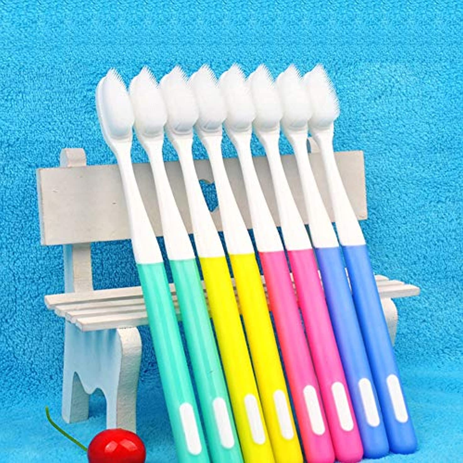 アジア人ギターディスコ歯ブラシ 歯ブラシを使用するには、全体の家族のために10パックナノ歯ブラシ、環境に優しいシリコーン歯ブラシ、 KHL (色 : A, サイズ : 10 packs)