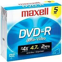 max638002–Maxell DVD Recordableメディア–DVD - R–16x–4.70GB–5パックジュエルケース