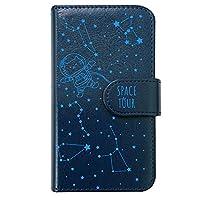 【moimoikka】 iPhone6 Plus 5.5インチ 手帳型 スマホ ケース ねこ 星座 宇宙 動物 キャラクター かわいい (手帳ネイビー×ブルー柄) 猫 アニマル 星柄 プラネタリウム ダイアリータイプ 横開き カード収納 フリップ カバー スマートフォン モイモイッカ もいもいっか sslink
