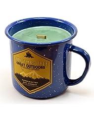 クリスマスツリーウッド芯Soy Candle in anエナメルキャンプマグカップ、10オンス