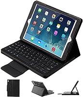 iPad Pro 10.5キーボードケース、取り外し可能折り畳みPUレザーフォリオケースカバー&取り外し可能ワイヤレスBluetoothキーボードカバーケースfor Apple iPad Pro 10.5インチ2017タブレット(ブラック)