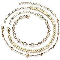 Ever Fairy Gold Chain Multiple Layered Crystal Arrow Boho Heart Sand Beach Rhinestones Charm Anklet for Women Girl