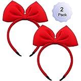 Bow Headband Red Bowknot Headband Big Bow Hair Hoop Cute Girls Kids Party Decoration Headdress Cosplay Costume Headwear Hallo