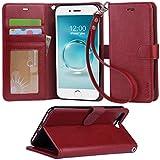 【Arae】iPhone7 Plus ケース 手帳型 スタンド ストラップ カード マグネット 財布型 落下防止 衝撃吸収 おしゃれ おすすめ アイフォン 7 プラス ケース カバー (iPhone7 Plus , ワインレッド)