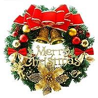 HIZLJJ 前点灯クリスマスリース50 LEDライト、レッドベリーレッドとゴールドボールゴールドパイン、レッド蝶結び付きドア花輪 (Size : 60cm)