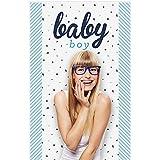 Bigドットの幸せのHello Little One – ブルー、シルバー – Boyベビーシャワー写真ブースBackdrop – 36
