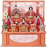 雛人形 五人揃収納飾り 【夢路】セット 23号(5人)[幅70cm] パールピンク塗[sb-18-256] 雛祭り