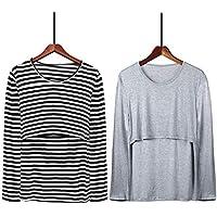 授乳服 授乳口付き 授乳インナー Tシャツ長袖 2枚組(グレー・ストライプ)マタニティトップス 産前・産後兼用 下着 年中使える Yogaily マタニティウェア 肌着 グレー・ストライプ 2枚セット (グレー・ストライプ)