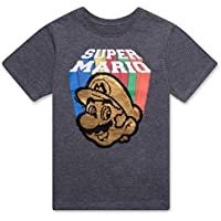 Nintendo Super Mario Bros Boys Double Flip Sequin Design Short Sleeve T-Shirt