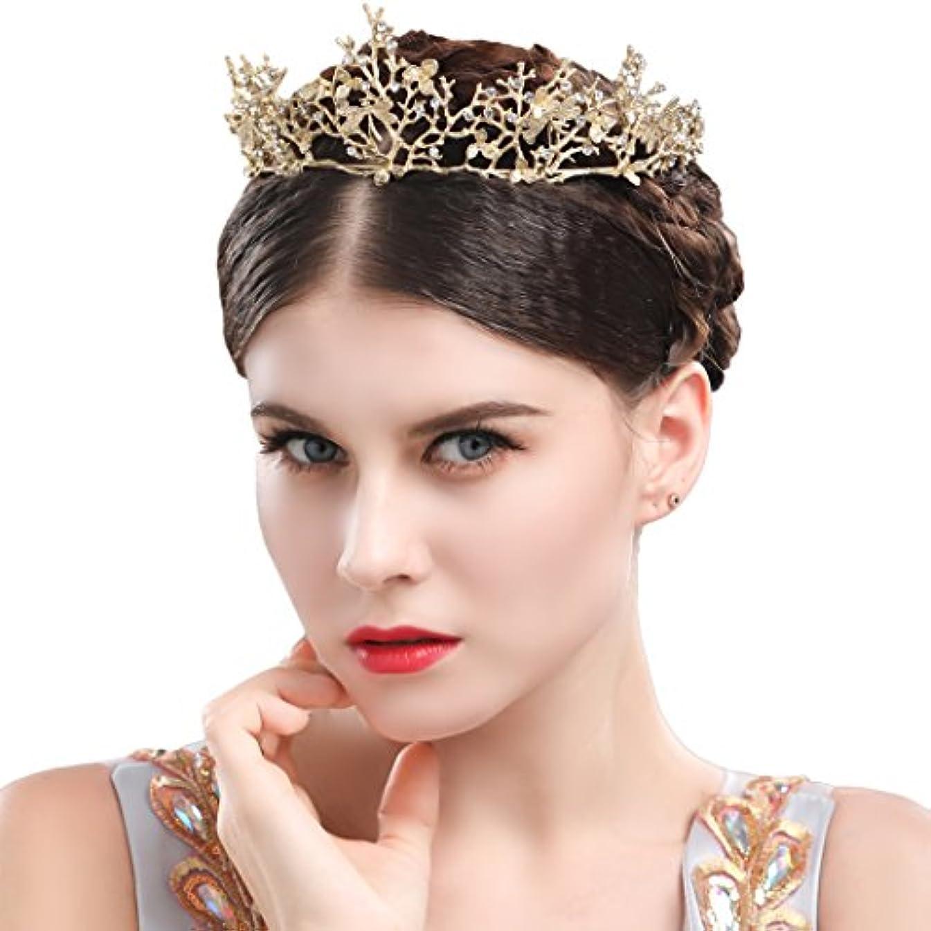 要塞チャネル過ちYeanティアラ 王冠 おうかん クラウン ヘアアクセサリー ゴールド レディース ガールズ 女性 プリンセス 結婚式 ウェディング 花嫁 披露宴 パーティー (Color-05)