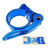 J@G (ジャグ) 自転車 シート クランプ クイックリリース式 カラーシートクランプ 31.8mm メタルフレームステッカーセット (ブルー)