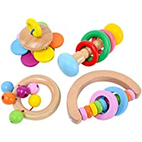 Baby Rattle Toy木製Clutching教育おもちゃを子供の3か月よりも( 4タイプ)