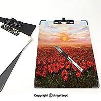 クリップボード A4サイズ対応 レンジップボード 花 作業用ペーパーホルダー (2パック)日没の芸術的な写真ライトブルーグリーンレッドの前に花びらのフィールドを持つワイルドアヘンポピー