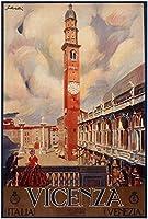 Vicenza、ヴィンテージイタリア旅行Reproduction Rolledキャンバス印刷24x 33で。