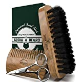Sandalwood Boar Stiff Bristle Beard Brush, Comb, Scissors Set for Men | Best First Cut Grooming Kit for Straightens and Conditions Beards | Great to Distribute Balm or Oil for Growth & Styling