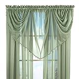 ビーズ付きWaterfall Sheerプライバシーウィンドウカーテン飾り布の光るクリスタル グリーン 36243 SAGE