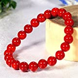 【L/内周約18cm】 3月誕生石♪ 最高級5A★赤珊瑚 φ8mm コーラル ブレスレット☆Love Red♪ of2