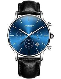 Aesop クオーツ腕時計 文字盤 大きい 、メンズ腕時計、シンプルメンズ腕時計、超薄型 腕時計、腕時計革バンド オシャレカッコイイ 腕時計 (ブルー)