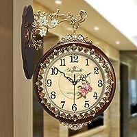 ALUP- 白クリエイティブ新しい中国スタイルカントリー風無垢材の木の壁時計サイドウォールのリビングルームのパーソナリティの装飾 (色 : 1)