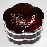 紀州塗り 7.5寸 桜型 二段オードブル重箱 別甲 彩桜 タッパー付