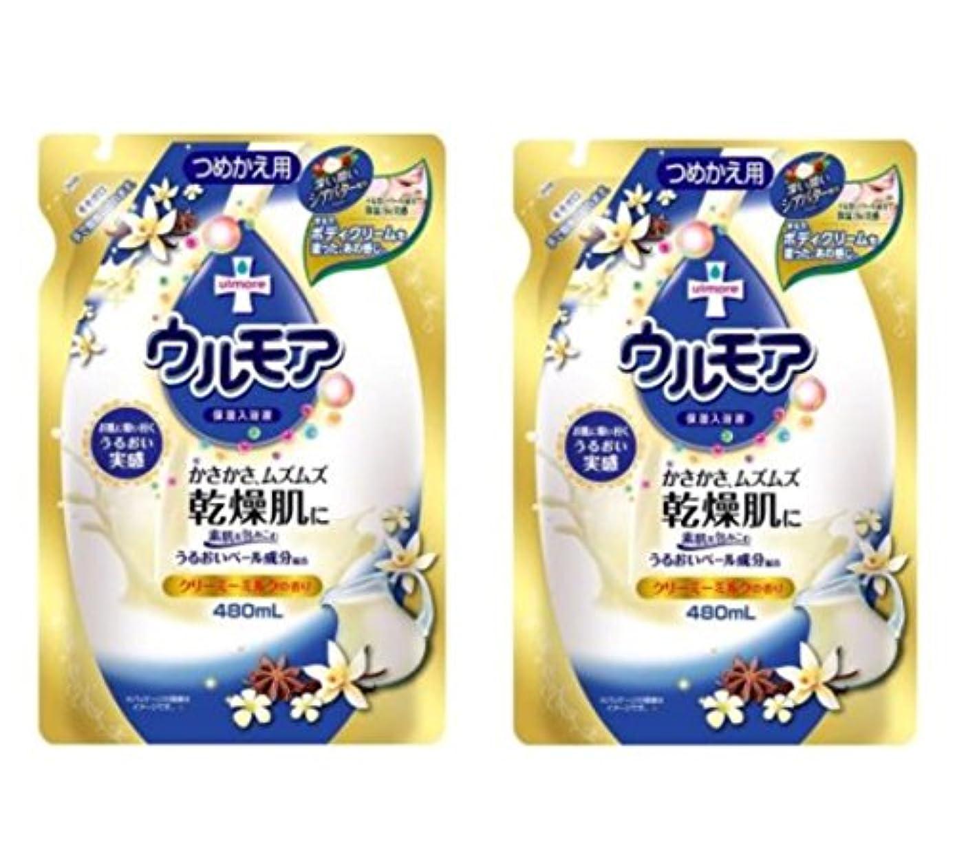 浮く六やろうアース製薬 保湿入浴液 ウルモア クリーミーミルク詰替 480ml×2個セット